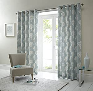 Forest Trees Duck Egg Blue White 46x54 Ring Top Lined Curtains #seertdnaldoow *cur* from Curtains