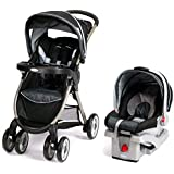Graco FastAction Fold Travel System with SnugRide Click Connect 30 Infant Car Seat Metropolis, Black