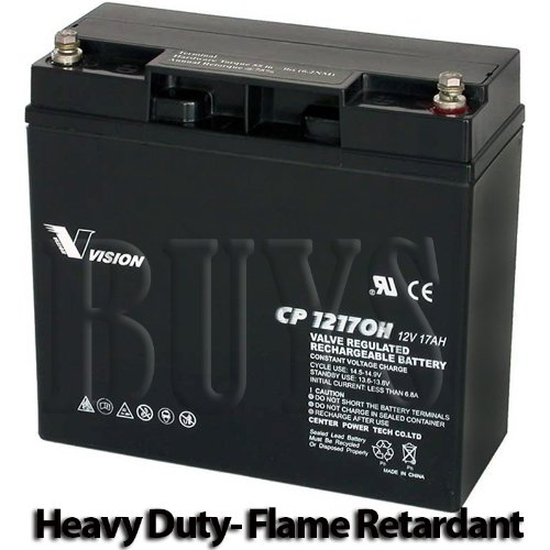 Cp12170H-X Sealed Agm 12V 17Ah Heavy Duty Flame Retardant Vision Battery Threaded Insert Terminals Replaces Rbc39, Hr1290W Fr, Hr1280W Fr, Hrl1280W, 153302084-001, 153302033, 12Fgh65, Px12170, Px12180, Pxl12180, Psh-12180Fr, Npx-80, Npx-80R, Npx-80Rfr, Np