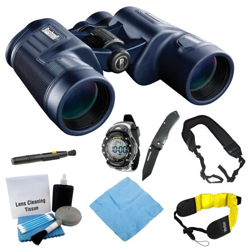 Bushnell 134218C H2O 8X42 Waterproof/Fogproof Porro Prism Binocular With Sportsmans Watch & Knife Combo + Floating Foam Strap + Wide Strap And Lens Cleaning Tool Kit