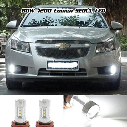PartsSquare 2 Pcs 80W 1200 Lumen High Power White Led Car Fog Driving Light DRL H16 H11 H8 H9 For 2014 Honda /Lexus /Nissan /Toyota (Honda Civic Fog Lights 2012 compare prices)