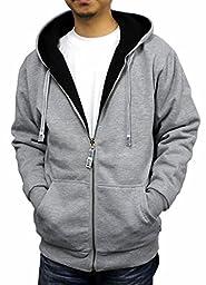 Pro Club Mens Full Zip Reversible Hoodie, Heather Grey Fleece/Black Thermal, XX-Large