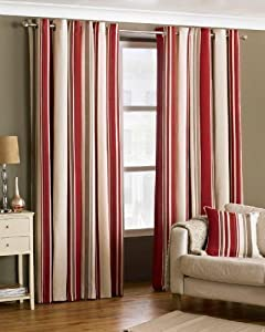 Davenport Red Cream 46x54 Striped Lined Ring Top Curtains #yawdaorb *riv* from PCJ Supplies