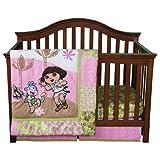 Trend Lab Nickelodeon 5 Piece Crib To Toddler Bedding Set, Dora The Explorer Exploring The Wild (Cream,Green,Pink)