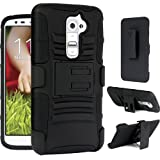Maxboost Shell Holster Combo - Dual Layer Holster Cover Case for LG Optimus G2 with Build-In Kickstand Belt Clip Holster [Black] - Fits All Versions of LG Optimus G2 including models for AT&T, Sprint, T-mobile, and International Unlocked Carriers (A.K.A LG Optimus G2 Case / LG Optimus G2 Holster Case / LG Optimus G2 Belt Clip / LG Optimus G2 Stand Case ) [Not Compatible with Verizon Models]