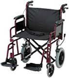 "NOVA Medical Products 332 Lightweight Transport Chair with Detachable Arms, Hand Brakes and 12"" Rear Wheels, 22"", Red"