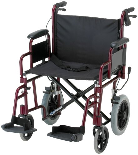 NOVA Medical Products 332 Lightweight Transport Chair with Detachable Arms, Hand Brakes and 12″ Rear Wheels, 22″, Red