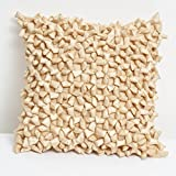 A S Traders Tablets Cushion Cover Polysilk Tablets Filled with Polyfiber (40 Cm x 40 Cm, Beige, Set of 5)