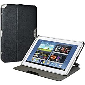 Amzer 95257 Shell Portfolio Case - Black Leather Texture for Samsung Galaxy Note 10.1 GT-N8000