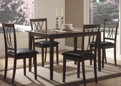 Buy Low Price Coaster 5pc Casual Dining Table and Chairs Set in Two Tones Finish (VF_150191N)