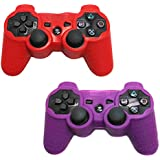 HDE 2 Pack Protective Silicone Gel Cover Skin for Sony Playstation 3 PS3 Gaming Controllers (Red + Purple)