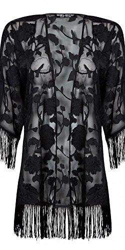 Womens Applique Rose Kimono Ladies (18 - Black)