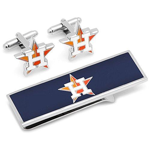 Mlb Mens Houston Astros Baseball Cufflinks & Money Clip Gift Set (Silver-Tone)