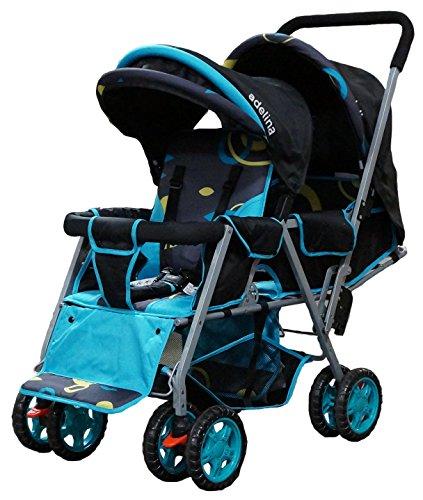 ADELINA-Designer-Double-Stroller-Blue-Circles