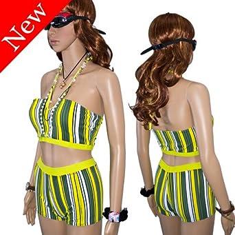 Hot Sexy New high waist bikini set Striped Sport bikini Swimsuit swimwear Plus size XL XXL fantasias femininas bikini calzedonia