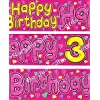 GIRLS HAPPY 3RD BIRTHDAY BANNER 9FT LONG