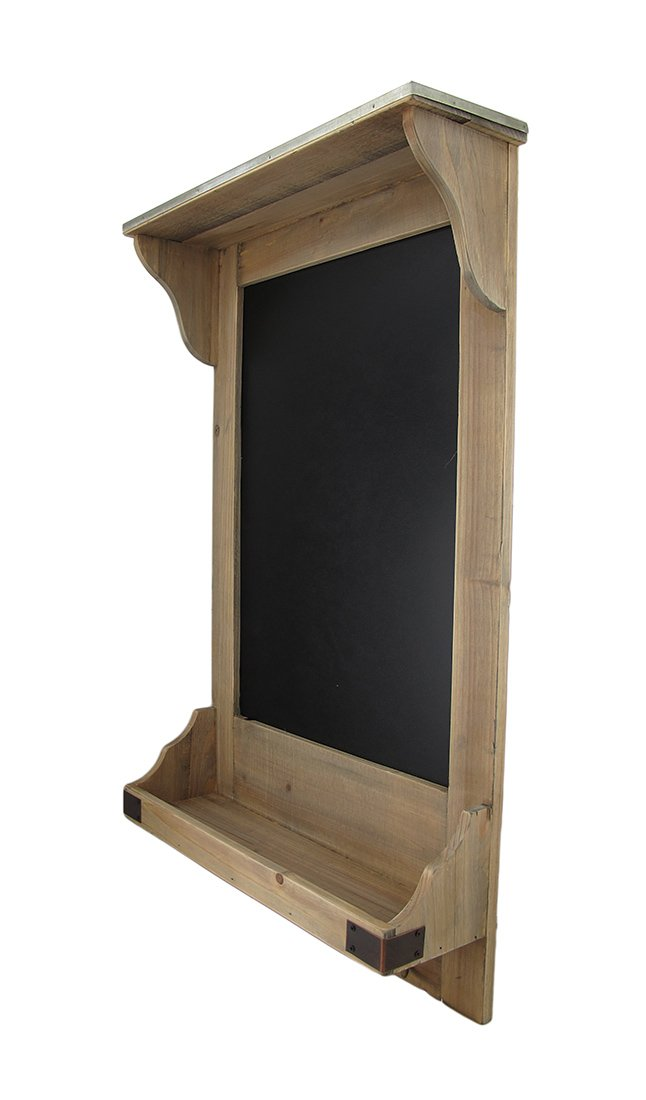 Vintage Style Wooden Wall Shelf w/Hooks and Chalkboard 1