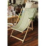 Linum Liegestuhl SUN CHAIR BOB grün A94, 56cm x 130cm, Holz Sonnenstuhl mit Baumwoll Bezug
