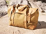 Short Weekender Canvas/ Leather Travel Bag (tan)