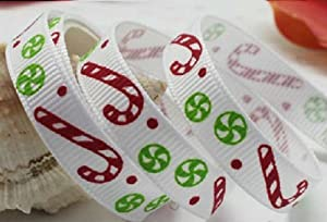 Christmas Ribbon WHITE WITH RED CANDY CANES & GREEN SWEETS ~ 5 yards (4.5 metres) of 9mm Wide Ribbon Ideal For Presents~Gifts~Cards~Scrap Booking~Decoration