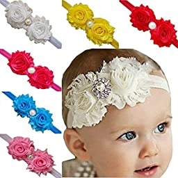 TANZKY 10pcs Baby Girl Bow Headbands Rose Pearl Ribbon Flower Princess Hairband