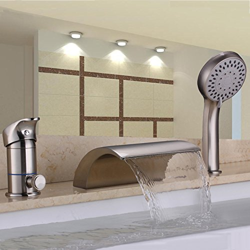 Hiendure Waterfall Solid Brass Roman Tub Faucet Set with Hand Shower ,Brushed Nickel (Faucet Roman Tub compare prices)