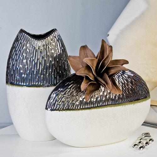 Moderne Deko Vase Blumenvase Galano aus Keramik weiß/silber Höhe 40 cm