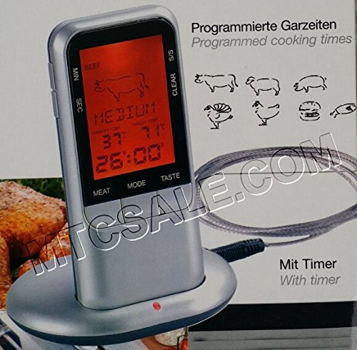 Wireless Remote Smoker Meat Thermometer With Probe And Timer,Temperature Gauge&Alert On BBQ Grill/Kitchen Food Cooking/Oven/Microwave