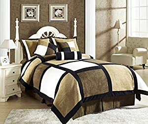 Legacy Decor 7-Piece Black Brown Beige Micro Suede Patchwork Comforter Set Machine Washable, Bed-in-a Bag- King Size