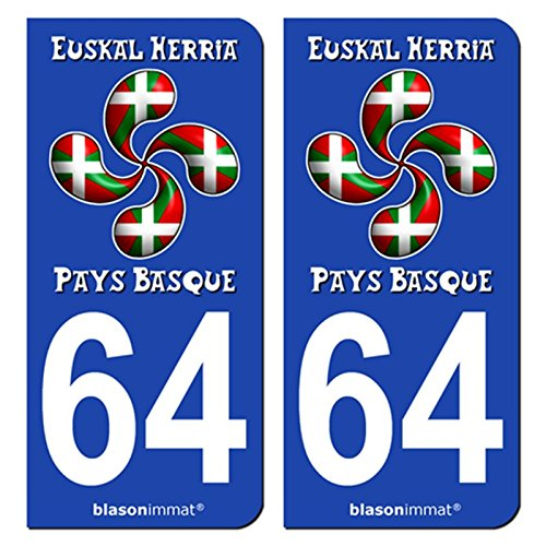 2-Stickers-de-plaque-dimmatriculation-auto-64-Pays-Basque-Lauburu-Drap