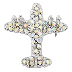 Crystal Aurore Boreale Airplane Pin Brooch Pin