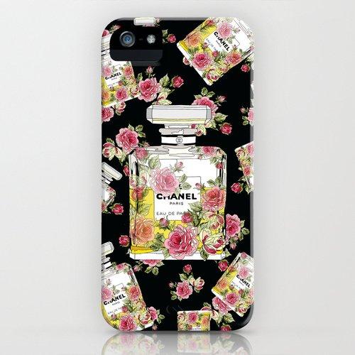 [ソサエティシックス] Society6 iphone 5 / 5S ケース 各種[並行輸入品] (Floral Bottle Chanel 9 Black)
