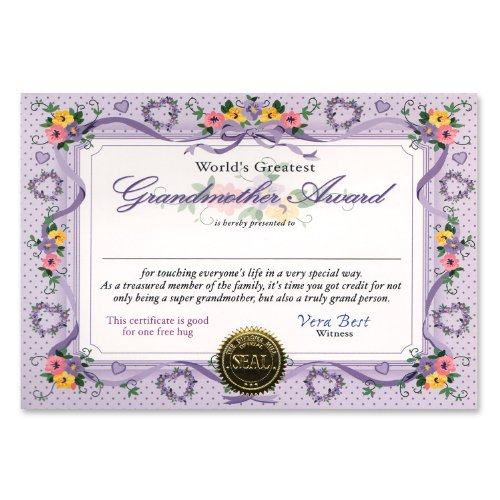 Beistle Cg049 World'S Greatest Grandmother Certificates, 5 By 7-Inch, 6-Pack front-936682