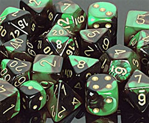 Buy Bargain Polyhedral 7-Die Gemini Chessex Dice Set - Black-Green w/ Gold CHX-26439