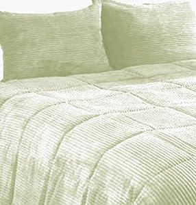 Newpoint microplush corduroy twin comforter mini set sage home kitchen - Corduroy bedspreads ...
