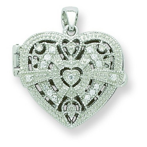 Sterling Silver CZ Design Heart Locket Pendant. Metal Weight- 5.51g.