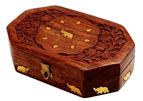 Fine Wooden Jewelry Trinket Keepsake Box Storage Organizer Handmade with Decorative Elephant Brass Inlay