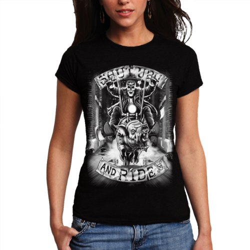 Wellcoda | Shut Up And Ride Biker Motorcycle Skull Women T-Shirt NEW Black M