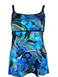 Womens Longitude Swimdress, Long Tankini Swimwear, Floral and Abstract Prints 10-18