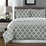 Grey and White Meridian Reversible 3-piece Full/ Queen Cover (Duvet-Cover-Set) 100 % Egyptian Cotton 300 TC