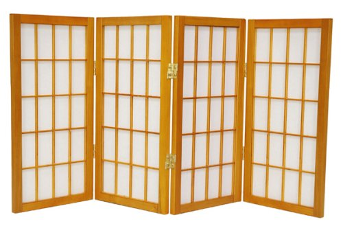 "Extra Short Japanese Shades Blinds - 2ft. (24"") Tall Window Pane Shoji Privacy Screen Room Divider - 4 Panel Honey"