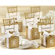 Miniature Gold Chair Favor Box with Heart Charm and Ribbon 12 Sets of 12