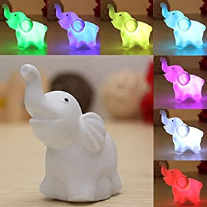 Lovely Elephant Shape 7Color Changing LED Lamp Night Light Nightlight Decoration by Nollmit Co,LTD
