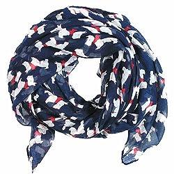Ladies lightweight all seasons scarf long soft shawl wrap scottie dogs print design