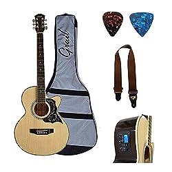 Grail A190CE Electro Acoustic Guitar Cutaway Natural with Inbuilt Tuner, Pickup, Equalizer, Case, Strap & Picks