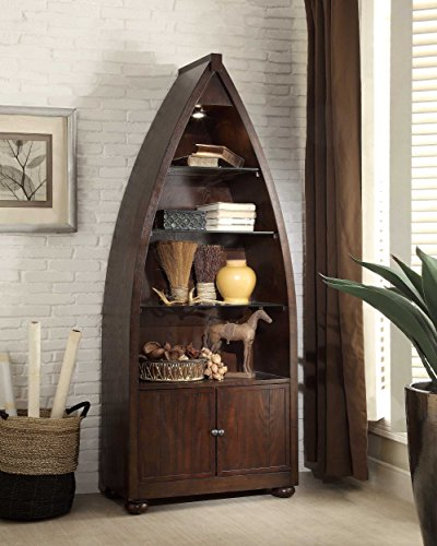 Homelegance 3522 12 boat shaped bookcase with light for Boat kitchen cabinets