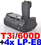 Battery Grip for Canon EOS 550D 600D/Rebel T2i T3i Camera+4x LP-E8 Batteries