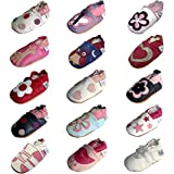 Soft Leather Baby Girl Shoes with Suede Soles by Dotty Fish Red and White Flower design - 6-12 Months