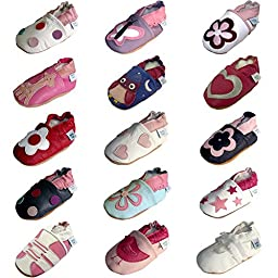 Dotty Fish Baby Girls Soft Leather Shoe with Suede Soles Pink Bird 0-6 Months to 3-4 Years