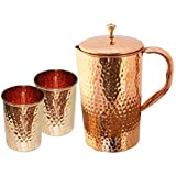 Pure Copper Jug And 2 Tumbler Glass Set For Ayurvedic Healing, Diameter 12 Cm